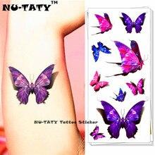 Nu-taty borboleta roxa 3d tatuagem temporária corpo arte flash tatuagem adesivos 19*9cm à prova dwaterproof água estilo tatoo decoração da casa adesivo