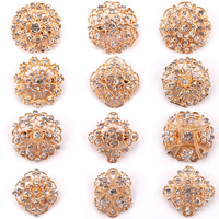 Pack Of 12 Pcs Mixed In A Card Color Diamante Brooches In Vintage Gold Plated Factory