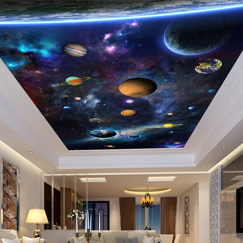 Custom Large 3D Photo Mural Wall Paper Stereo Space Planet Ceiling Fresco Wallpaper Living Room Hotel Ceiling Papel De Parede 3D custom photo wallpaper high quality wallpaper personality style retro british letters large mural wall paper for living room