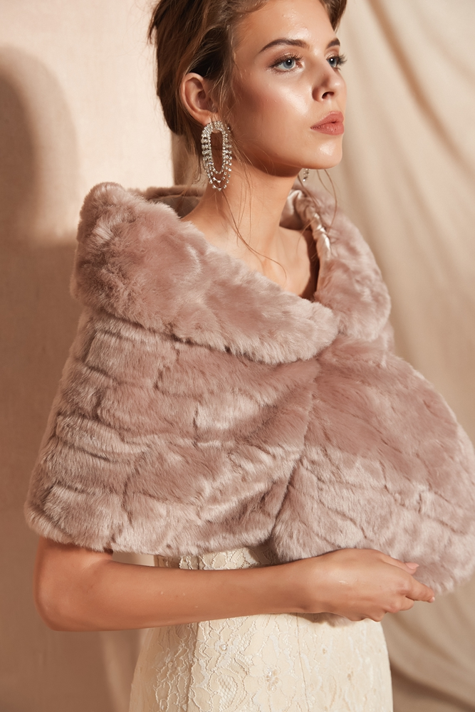Купить с кэшбэком Fur Stole Bridal Bolero Ladies Shrug Faux Fur Shawl Wedding Jacket Walk Beside You Evening Party Capes Feather Wrap Dark Pink