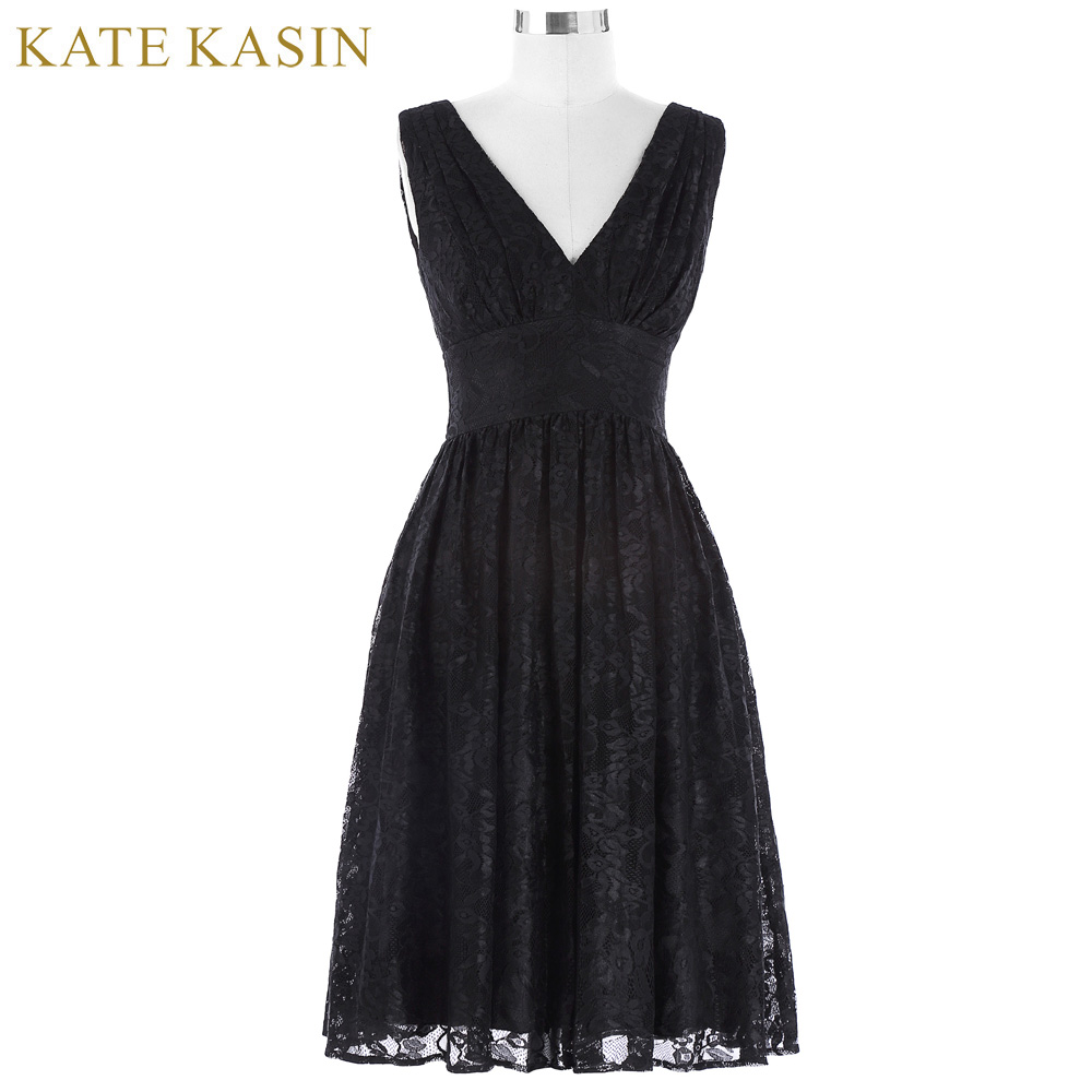Kate Kasin Sleeveless Short Cocktail Dresses 2017 Autumn Party Gown A Line Formal Prom Dress Knee Length Lace Cocktail Dress
