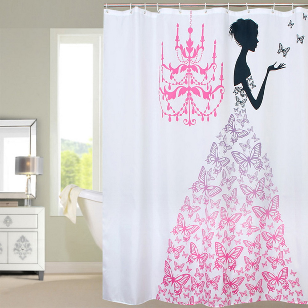 Fabric Polyester Pink Butterfly Princess Waterproof Shower