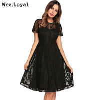 Wez Loyal Sexy Hollow Out Vintage Dress Female 2018 Summer Party Dresses Black Lace Dress Robe