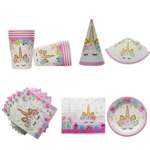 Image 3 - 1set Unicorn Party Supplies Pink Rainbow Unicorn Banner Plate Balloon Napkin Cupcake Wrapper Baby Shower Kids Birthday Decor