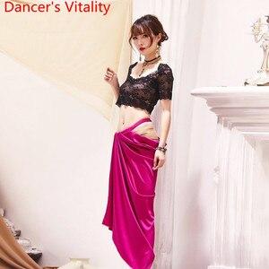 Image 1 - Oryantal oryantal dans uygulama elbise 2019 yeni dantel üst uzun etek 2 adet Set hint dans giymek acemi yarışması kostüm