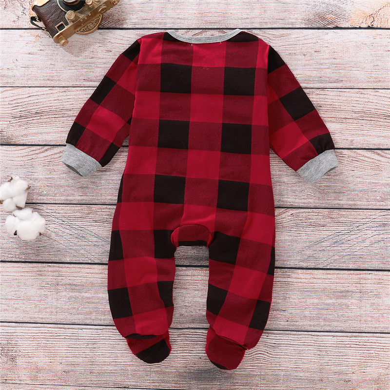 0-18M Baby Girls Clothes Red Plaid Baby Rompers Long Sleeve Deer Print New Born Clothing One Piece Rompers For Girl Kid Jumpsuit