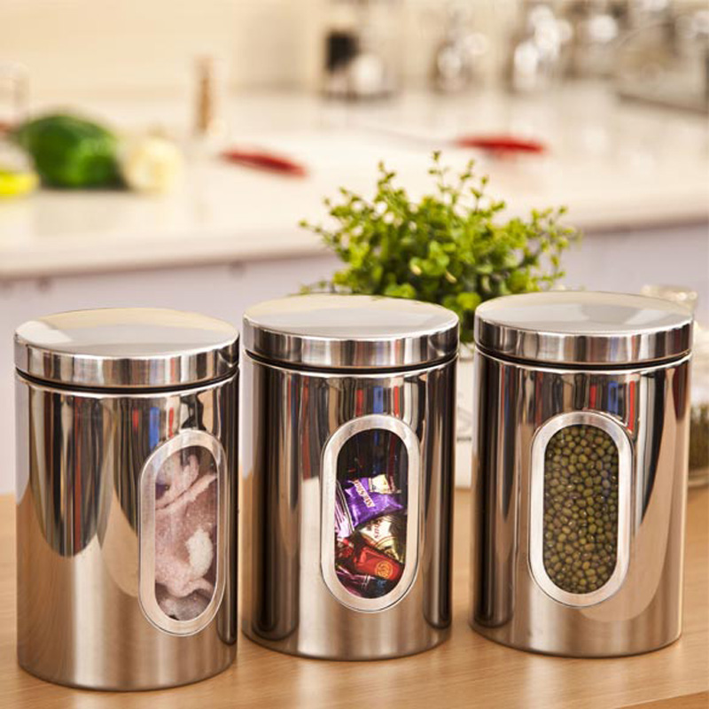 3pcs Stainless Steel Window Canister Tea Coffee Sugar Jar Storage Silver Free Shipping ASLT