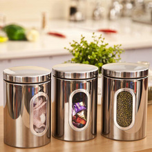 3 stücke edelstahl fenster kanister tee kaffee zucker glas lagerung silber free verschiffen aslt
