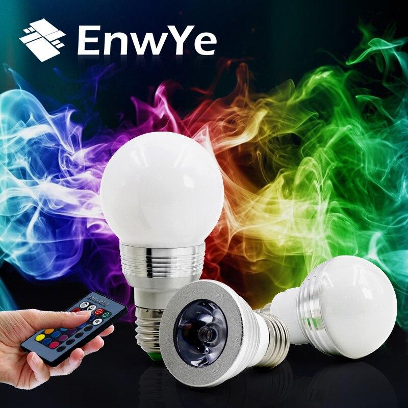 EnwYe E27 E14 LED RGB Ampoule lampe AC110V 220 V 3 W 5 W Spot light dimmable De Vacances magiques RGB éclairage + IR Télécommande 16 couleurs