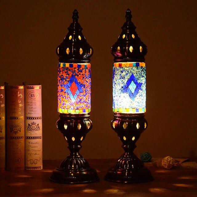 Artpad Mediterranean Retro Style Glass Turkish Mosaic Table Lamps  Handworked Study Bedroom Home Art Decor Turkish