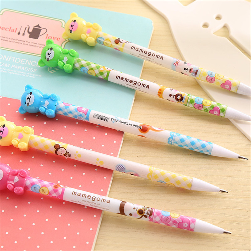 4Pcs Creative Lovely Cute Bear Mechanical Pencil 0.5/0.7mm School Stationery Store Graphite Automatic Pen Tool Kit Office Supply