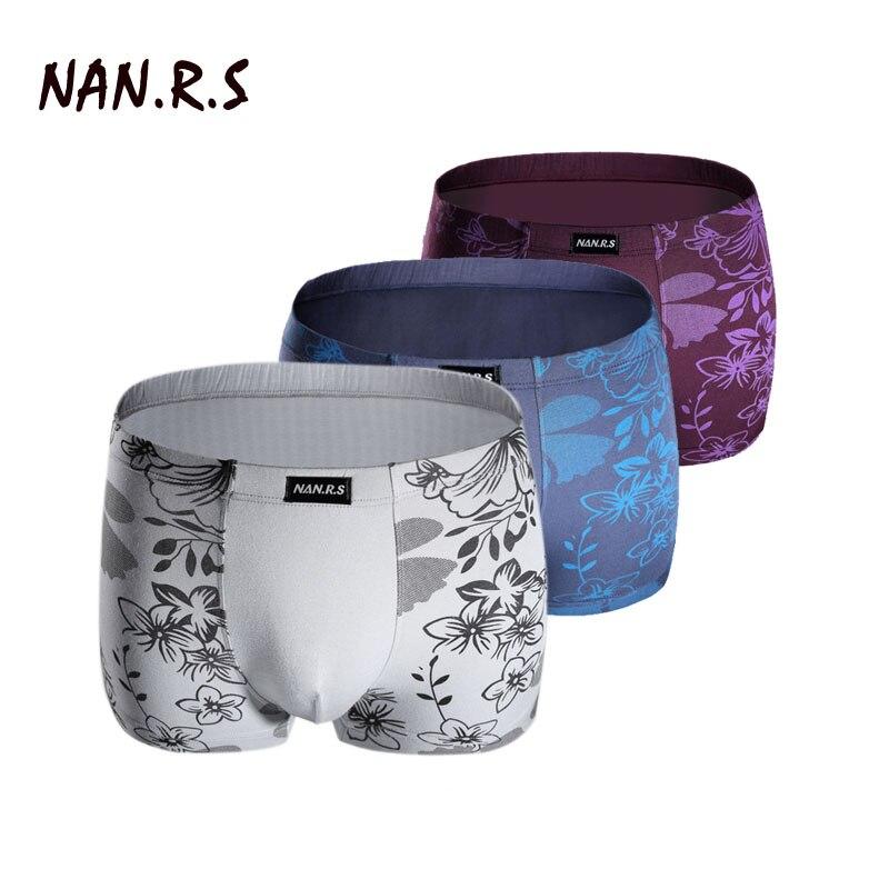 3PCS/Lot Brand Printed Bamboo Modal Comfortable Mens Boxer Shorts Underpants Cueca Box Masculina