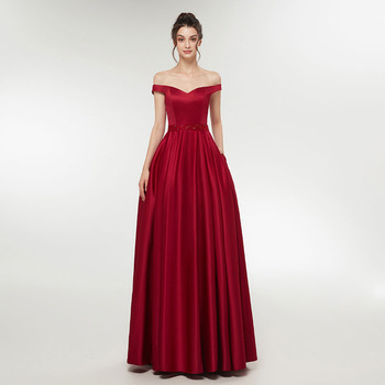 Simple Wine Red Evening Dress Ladies Women Dresses Off Shoulder Long Prom #dress #fashion #boygrl