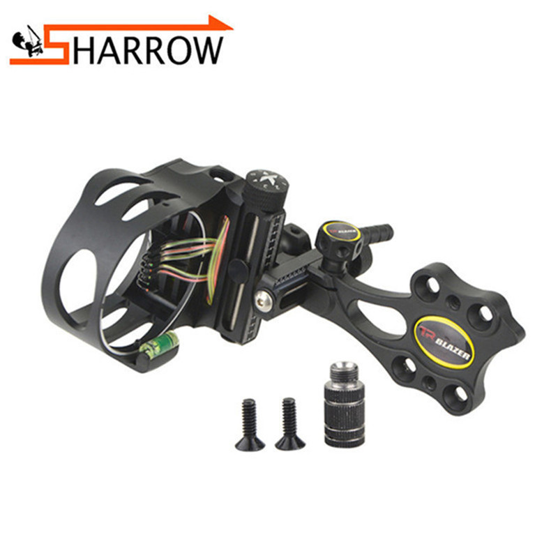 1pc Adjustable Optic Fiber 5 Pins Sight 0.19 Aiming With Light For Outdoor Bow Hunting Shooting Archery Accessories