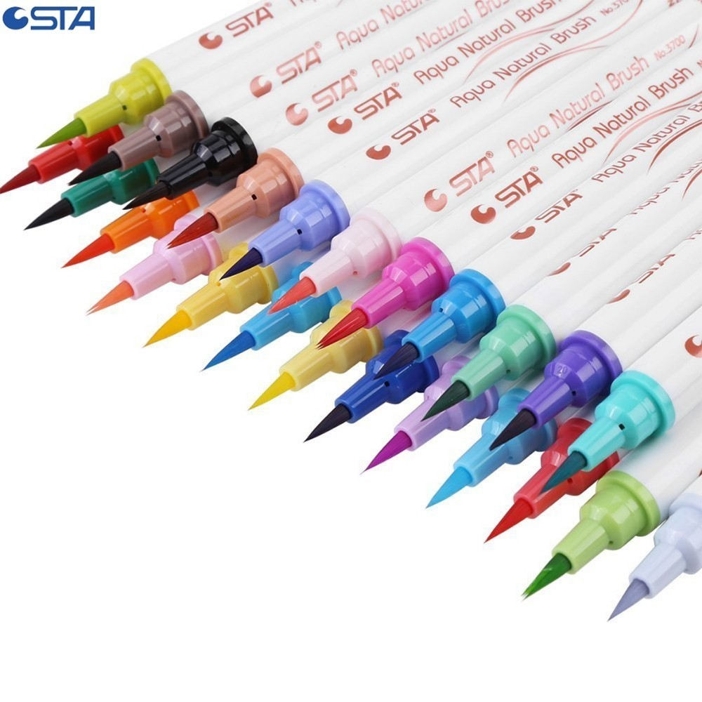 STA 12 24 36 Watercolor Brush Pen Set Colorful Art Markers Set Soft Calligraphy Sketch Markers for Painting Animation Manga italic nib art fountain pen arabic calligraphy black pen line width 1 1mm to 3 0mm