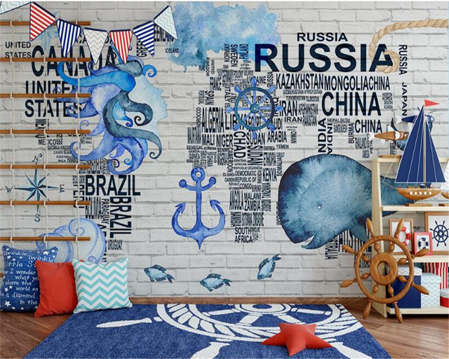 Beibehang Interior Decoration Wallpaper Personalized Fashion Watercolor Navigation Icon World Map Background 3d Tapety