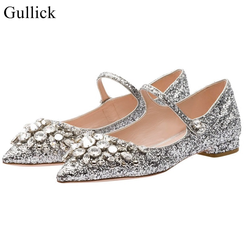 Luxury Crystal Pointed Toe Flat Shoes Ankle Strap Bling Bling Glitter Ballet Flats Women Wedding Party Dress Shoes Drop Ship free shipping new chic metal pointed closed toe transparent shiny pointed ballet flat shoes women s shoes sjl167