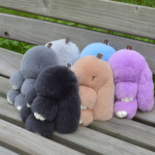 18cm Fur bunny keychain Pendant Rex Rabbit's Hair Bag Automobile Key holder ring chain Jewelry Excee