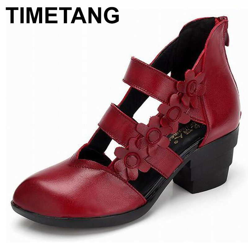 TIMETANG 2018 Ethnic Style Genuine Leather Women Sandals Med Heels Closed Toes Handmade Summer Soft Outsole