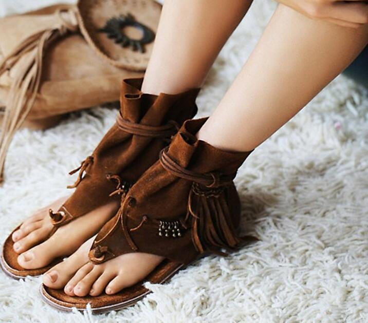 Summer Hot Brown Suede Leather Women Clip Toe Sandals Beading Fringe Ladies Lace Up Flat Sandals Roma Style Female Dress Shoes bohemian style summer celebrity lace up flat shoes pom poms cute sandals skyblue pink colorful clip toe comfortable dress sandal
