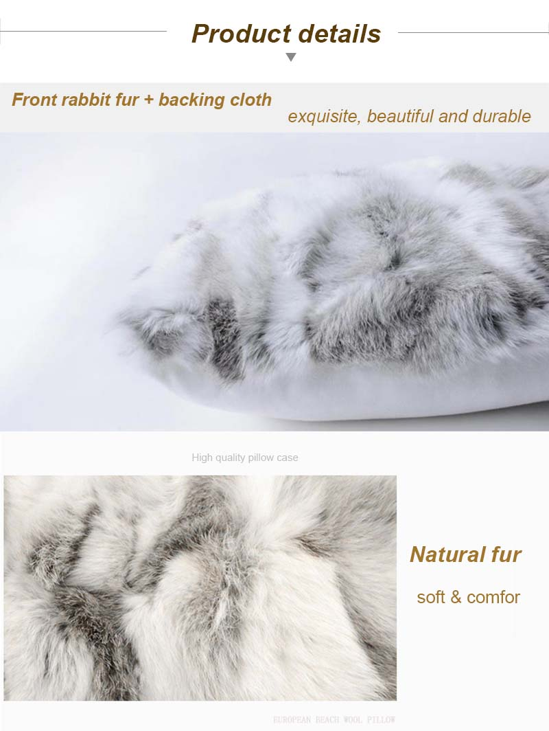 Rabbit fur pillow case detail 6