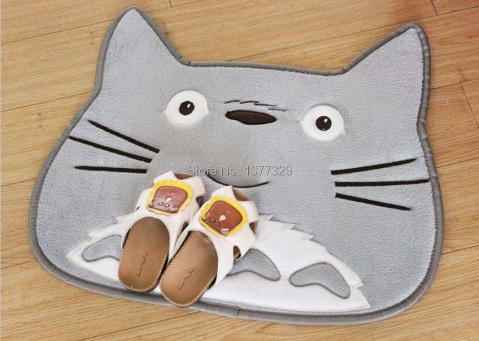 New totoro head door carpet floor ground rug bedside mat for Fleece tapete