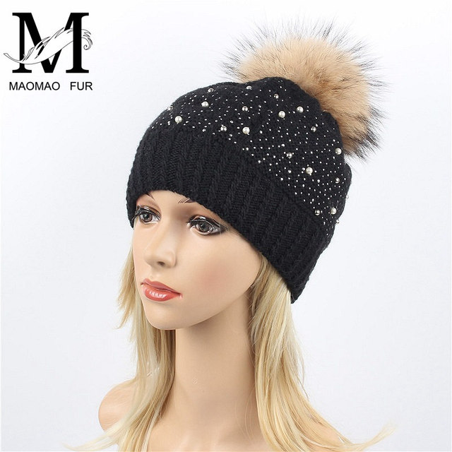 Real Fur Winter Hat Real Raccoon Fur Pom Pom Cap Thick Women Pearl Rhinestone  Hat Girls Wholesale Knitted Beanies Hats 0bf04ab10de9