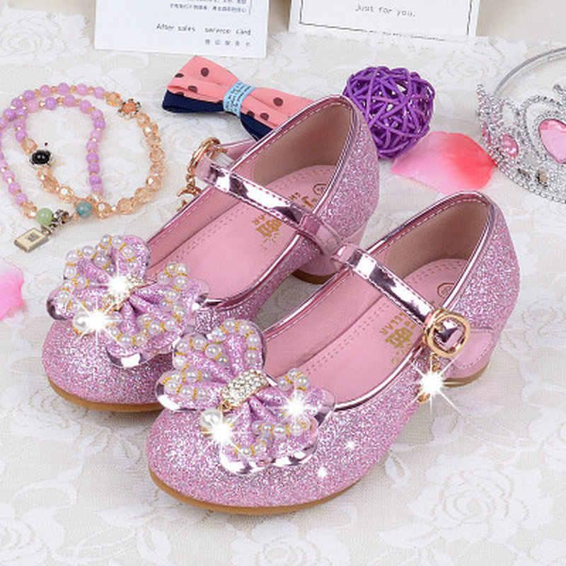 e8ca26e4660 2018 Kids Children Girls Princess Leather Shoes Sandals Pearl Bowtie Party Dancing  High Heels Shoes 4