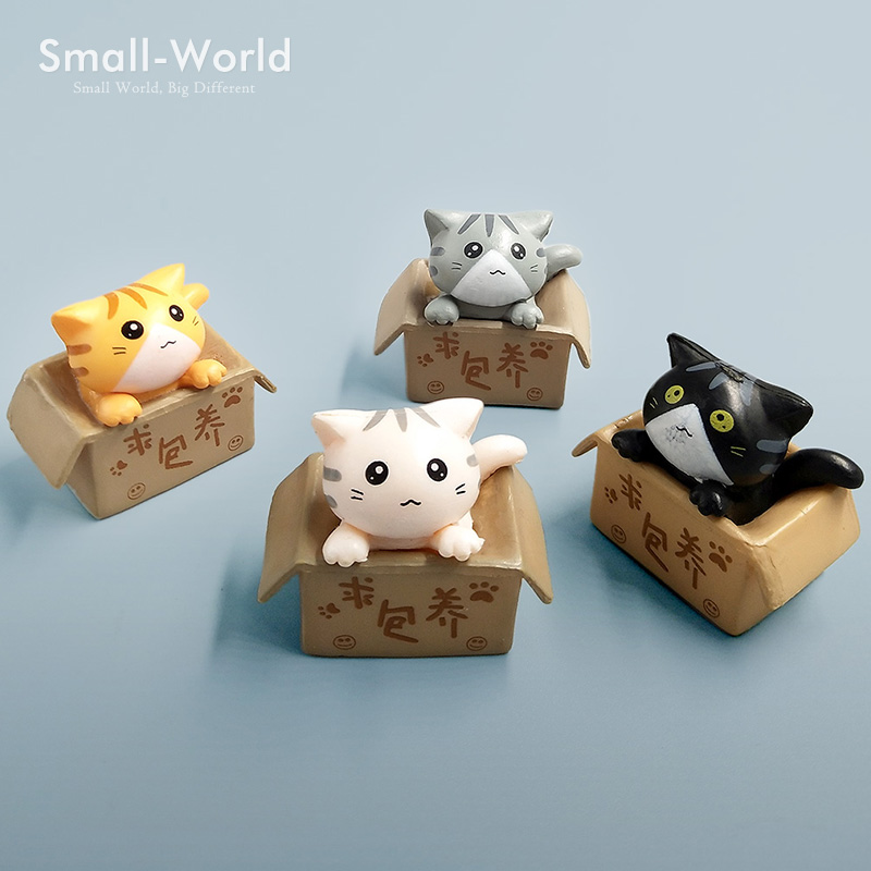 Cat inside box Miniature Figurine Seeking Nurturing wedding decoration Cake mini fairy garden resin craft ornament toy