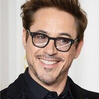 Robert Downey Vintage Reading Black Italy Acetate Eyewear Retro Clear Lens Glasses Men Prescription Eyeglasses