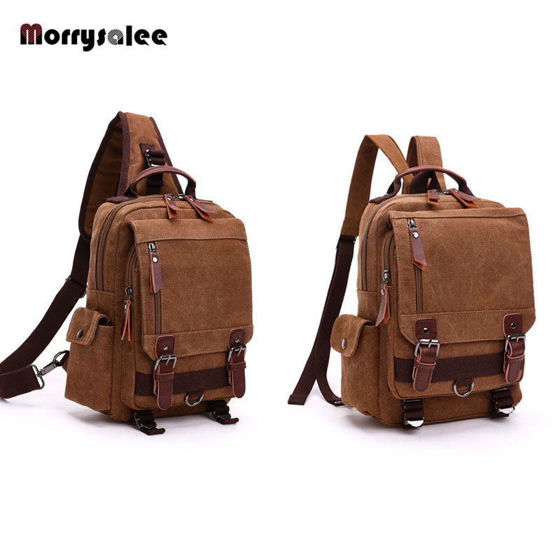 New Canvas Bag Men Bag Shoulder Solid Color Retro Men's Diagonal Package