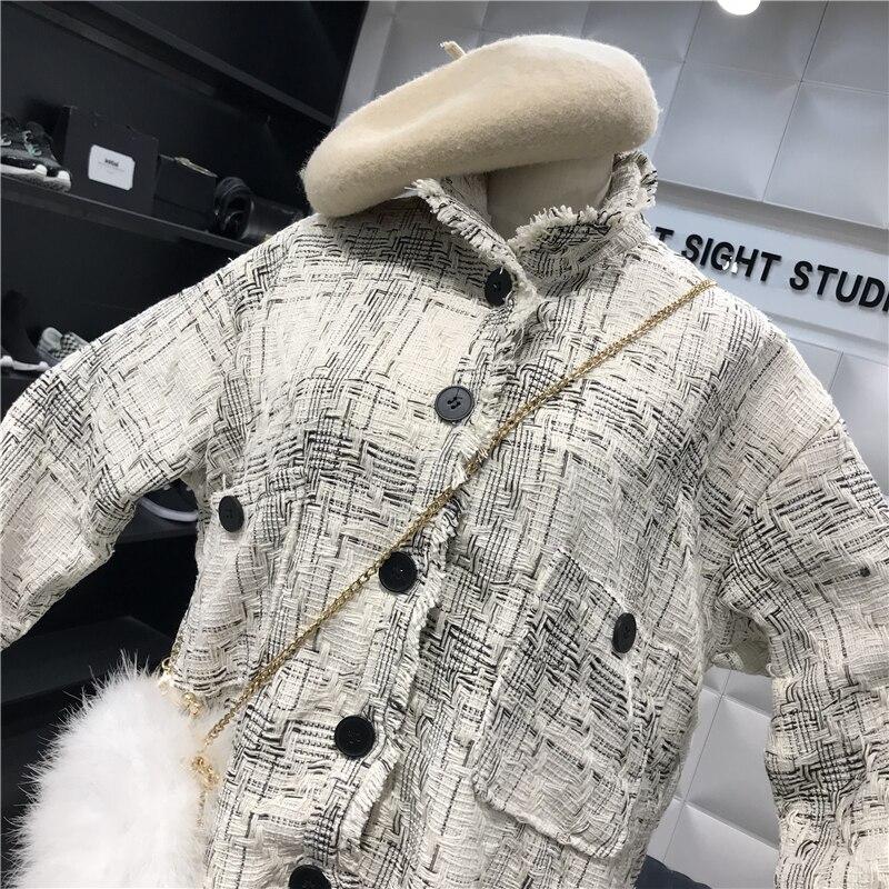 Ruvida Inverno La Fresco E Autunno Antico Tweed Versione Selvaggio Coreana Cappotto Sciolto Bianco Harajuku qRRItwP