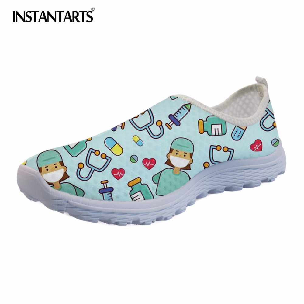 INSTANTARTS Casual Breathable Mesh Women Flat Shoes Nurse Print Light Weight Sneakers Lady Girls Leisure Slip-on Flats Female swyivy women sneakers light weight 2018 41 woman casual shoes slip on lazy shoes comfortable candy color breathable net shoe
