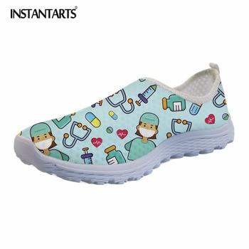 e805247906ab3 INSTANTARTS Rahat Nefes Örgü Kadın düz ayakkabı Hemşire Baskı Hafif  Ayakkabı Bayan Kızlar Eğlence Slip-on Flats Kadın