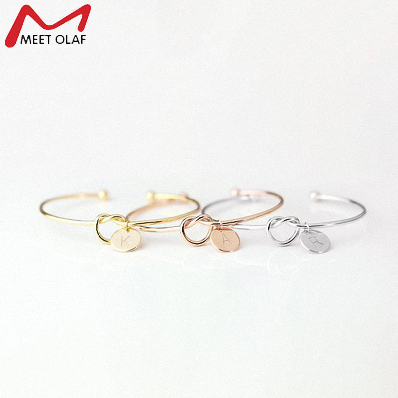 New Fashion 26 Letters Bracelet Women Lovers Bracelet Rose Gold/Silver Letter Open Knotted Bracelets Personality Jewelry CE0543 image