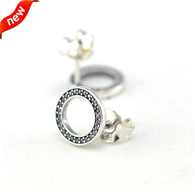 Forever Stud Earrings With Clear Cubic Zirconia 100% 925 Sterling Silver Fine Jewelry Free Shipping