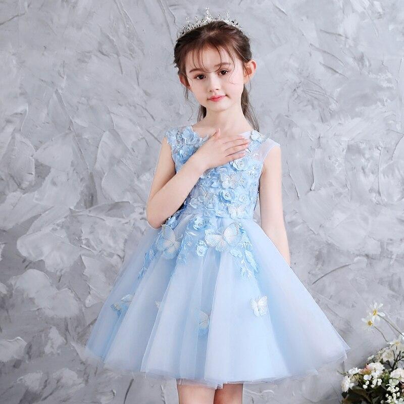 Babies Girls Elegant Fashion Sky,Blue Color Birthday Wedding