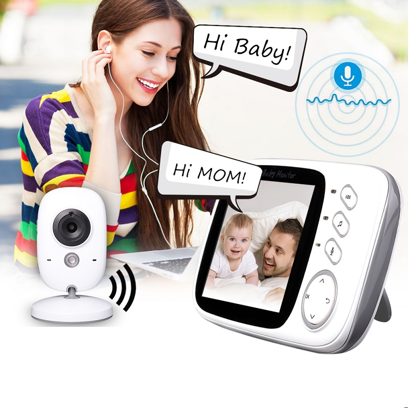 babykam baby nanny call radio 3.2 inch IR Night Vision Baby Intercom Temperature Sensor Lullaby alarm babysitter