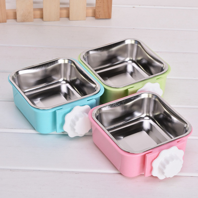 Pet Feeding Bowl For Dog Cat Hanging Fixed Stainless Steel Feeder Cage Removable Easy Cleaning Food Water Bowl Pet Supply