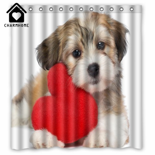 CHARMHOME Waterproof Bathroom Shower Curtain Black White Puppy Little Dog Red Love Heart Polyester Fabric Hooks
