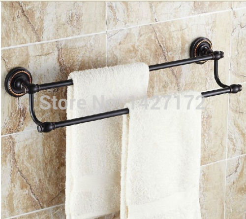 Wall Mounted Classical Oil Rubbed Bronze Bathroom Towel Rack Holder Dual Towel Bar In Towel Bars