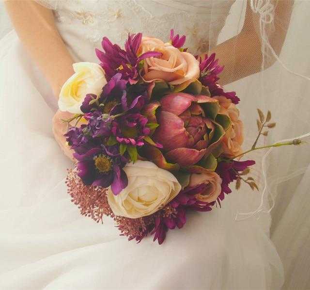 2017 Люкс Для Невесты Свадебный Букет Дешевые New Romantic Красочные Ручной Работы Искусственный Вырос Свадебные Цветы Свадебные Букеты