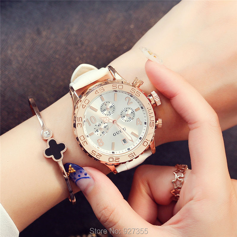 2017 New GUOU Watch Fashion Women Rose Gold Luxury Leather Band Calendar Quartz Watches Six-pin Big Dial Multifunction Watches цены