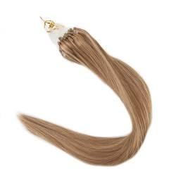 Полный блеск цвет #6 Средний коричневый выделен с #27 мёд блондинка волосы remy Расширения микро петля кольцо волос 1 г на нитке 50