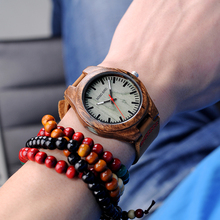 BOBO BIRD Wooden Wrist Watch Men with Crystal Agate Quartz A
