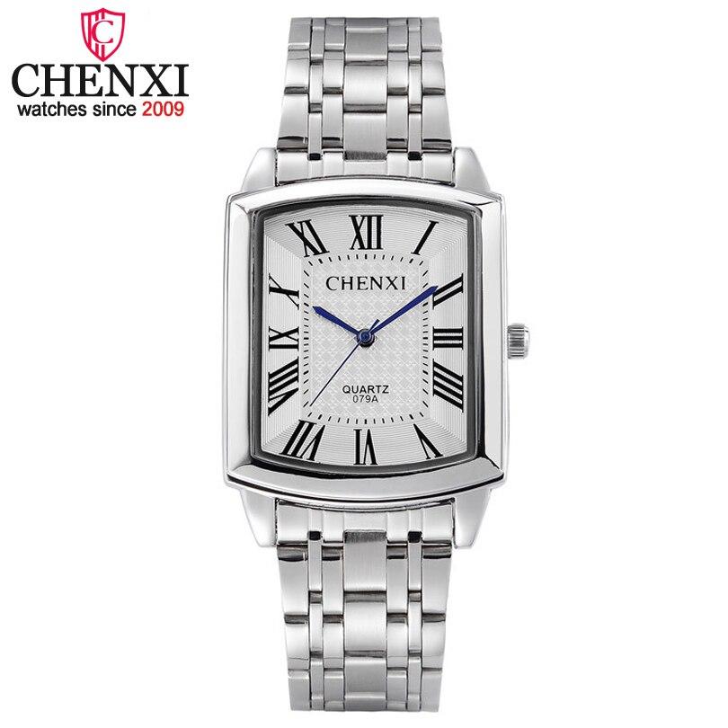 Fashion Chenxi Brand  Classic Hot Square Dial Couple Lovers Quartz Wristwatch Delicate Luxury Steel Strap Men Women Dress Watch