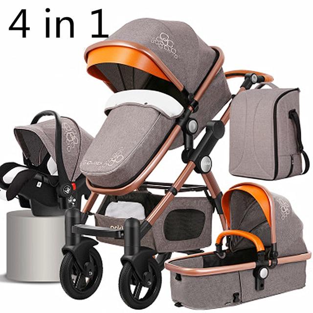 Kinderwagen 4 in 1 met Autostoel Voor Pasgeboren Hoge View Kinderwagen Vouwen Kinderwagen Travel System carrinho de bebe 3 em 1