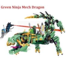 2017 New 568Pcs Ninja Figures Movie Green Ninja Mech Dragon Model Building Kits Blocks Bricks Toy For Children Compatible 70612