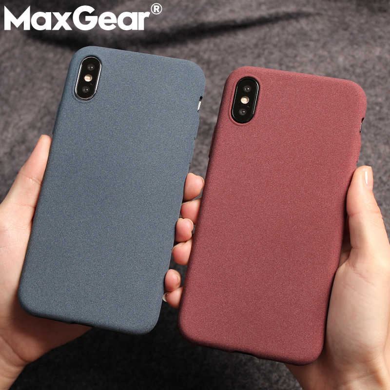 MaxGear Frosted Slim Sand Texture TPU Case for iphone XS Max XR Cover Matte Soft Cases For iphone 6S 7 8 Plus X Shell Phone Case