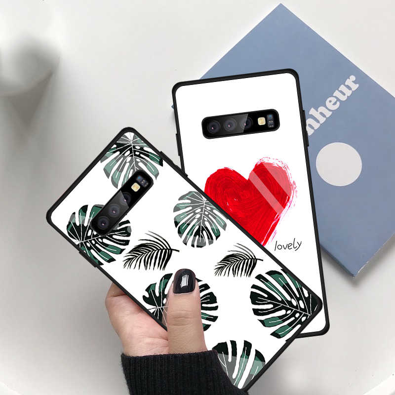 Fashion Lovely Heart Painted Case For Samsung Galaxy S10 Plus S10e Tempered Glass Protevtive Cover For Samsung S10 S10e 10 Cases